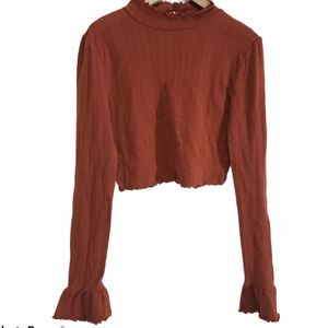 FREE PEOPLE INTIMATELY Long Bell Sleeve Crop Top L